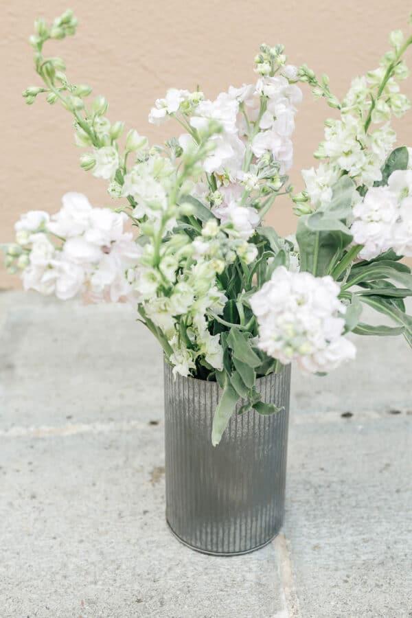 Metal vase from Bloom Sacramento.
