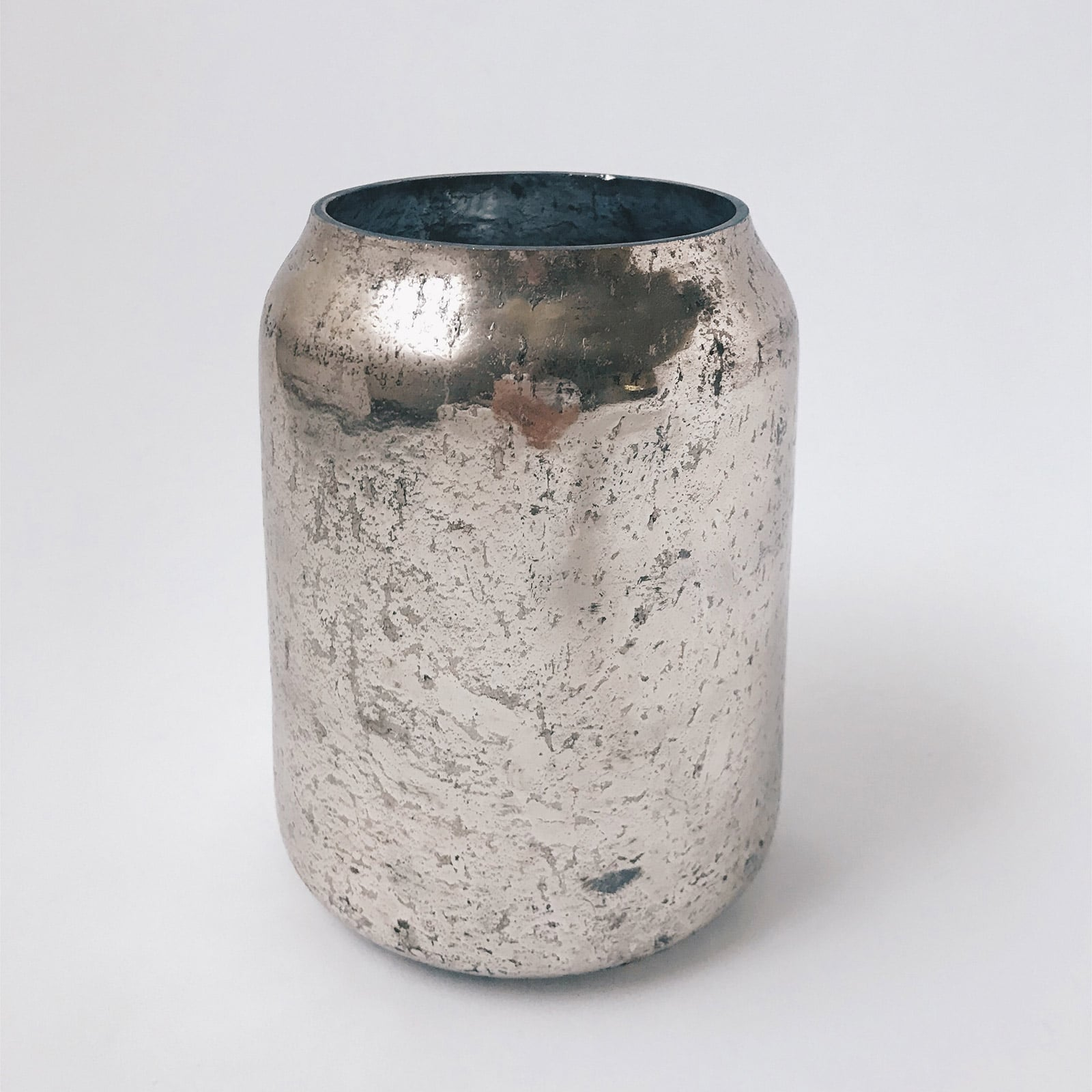 Silver, glass vase