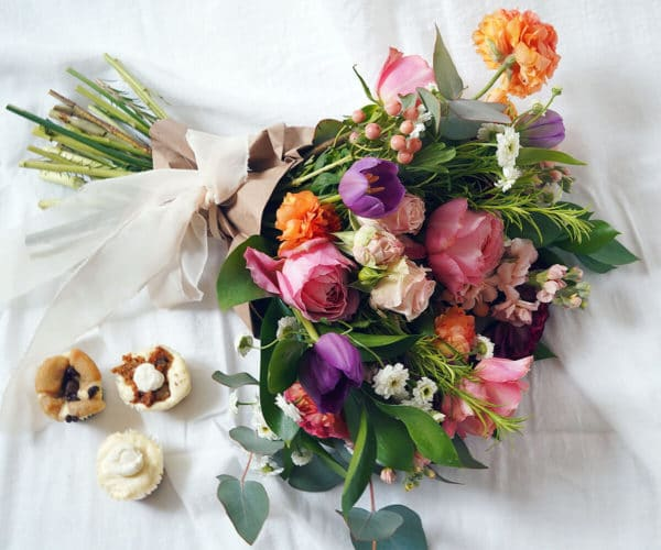 A Mother's Day bouquet by Bloom Sacramento and mini cheesecakes from Creamy's by Cayla Jordan.