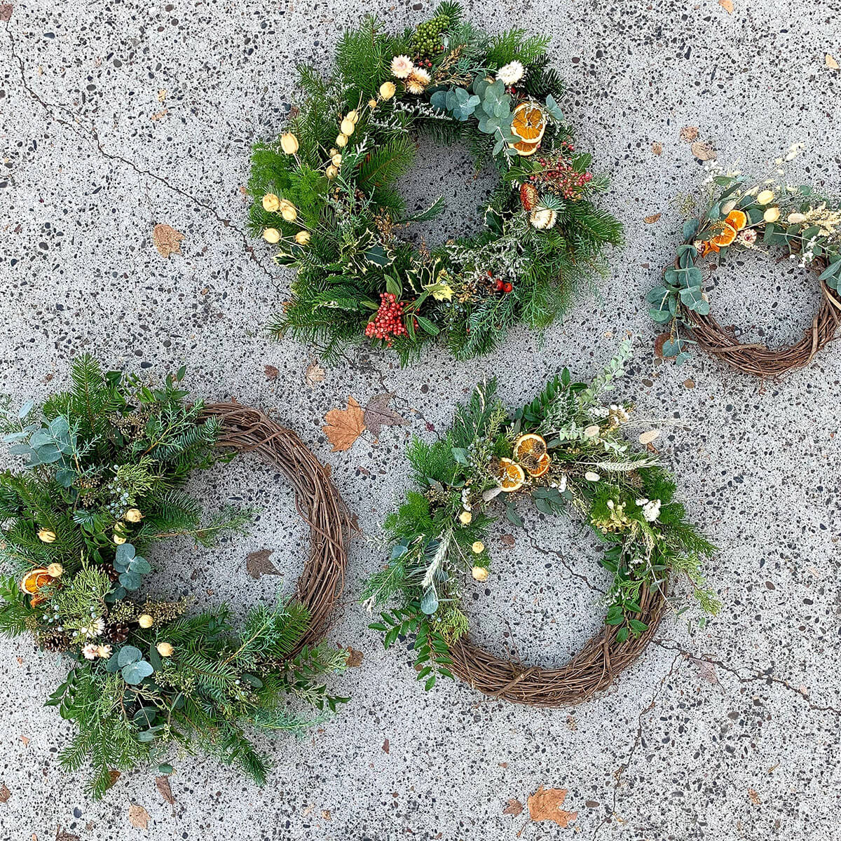 Four wreaths made by Bloom Sacramento and Bloomonade.
