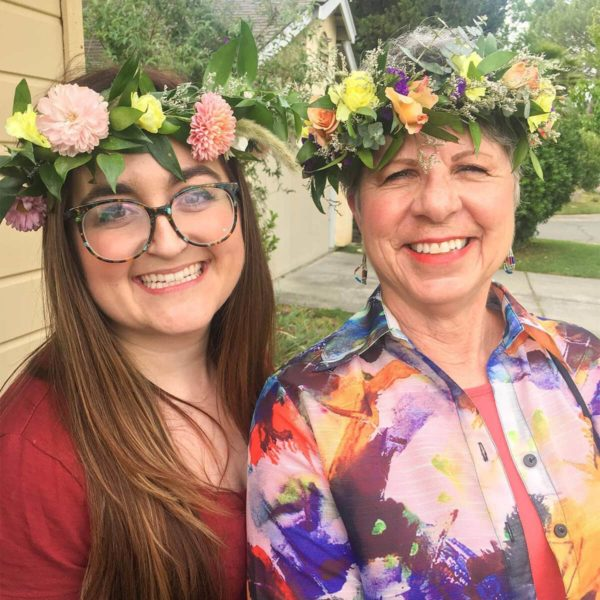 Two women flower crown made by Bloom Sacramento.