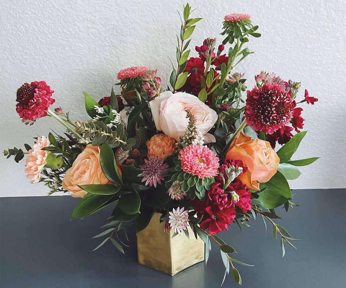 A Mother's Day bouquet of locally grown flowers from Bloom Sacramento in a vase.